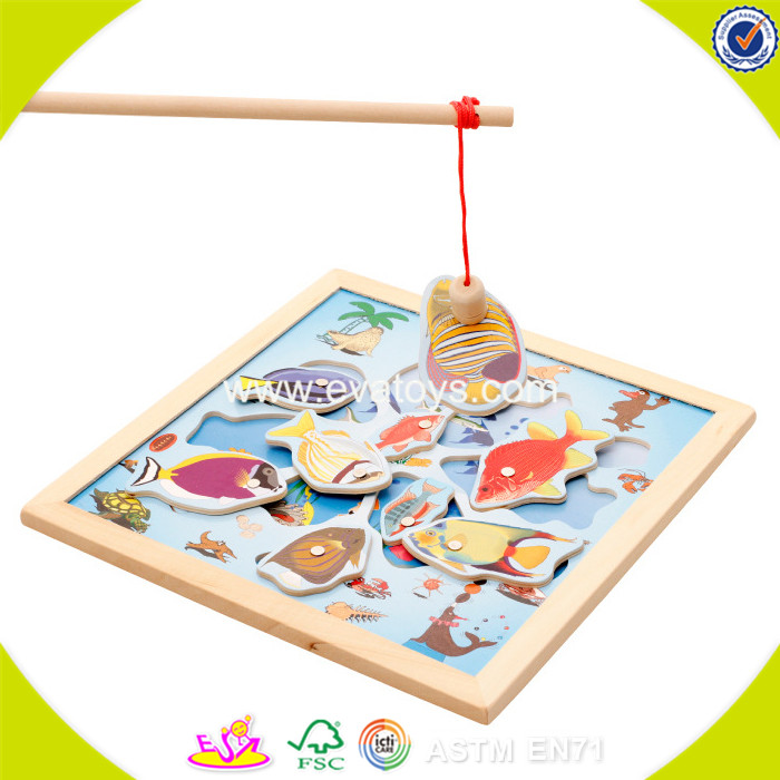 2017 New products baby wooden magnetic fishing set funny kids wooden magnetic fishing set best magne