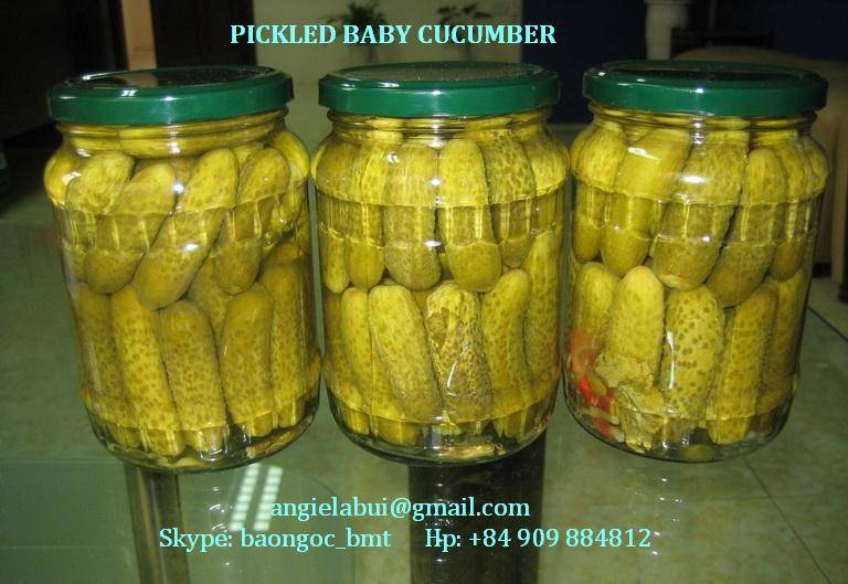 Canned Tomato Pasta, Canned pineapple, Pickled baby cucumber in glass jar (bottle or drum), pickle