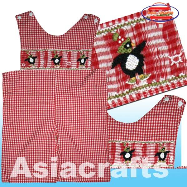 Kid smocked shortall
