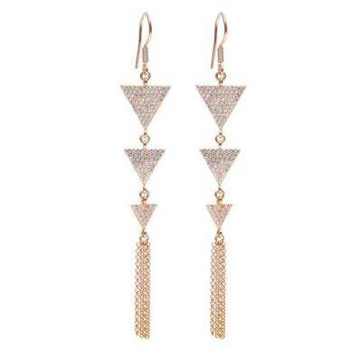 925 Sterling Silver Dangle Earring With Geometry design for girls