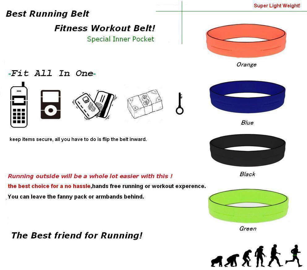 Hot Sale High QualityFour pouch elastic spandex fitness running belt