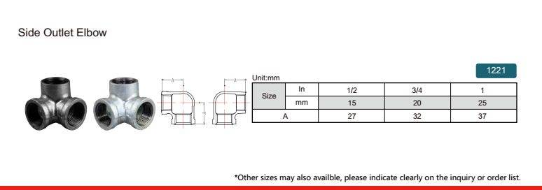 China malleable iron pipe fitting Side Outlet Elbow-1221 with high quality and proper price