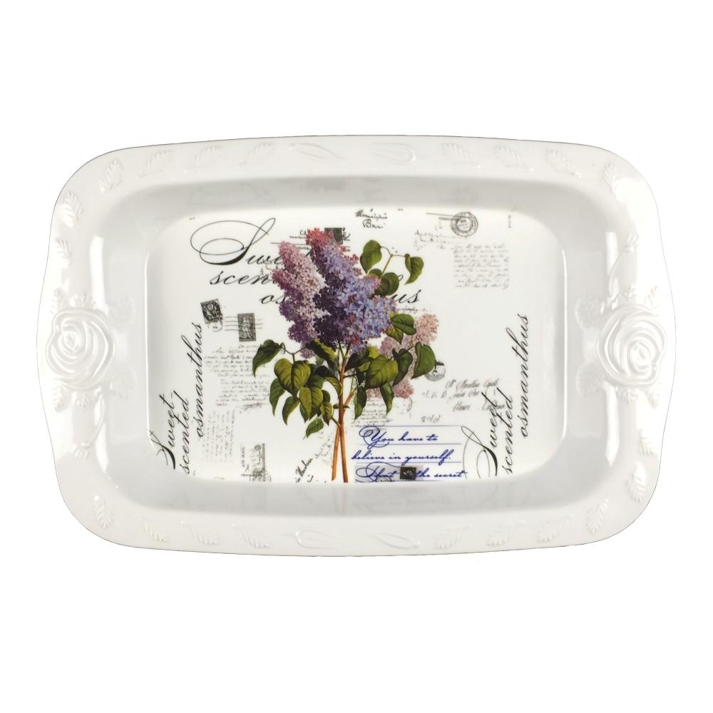 Rose carving side melamine tray for hotel serving