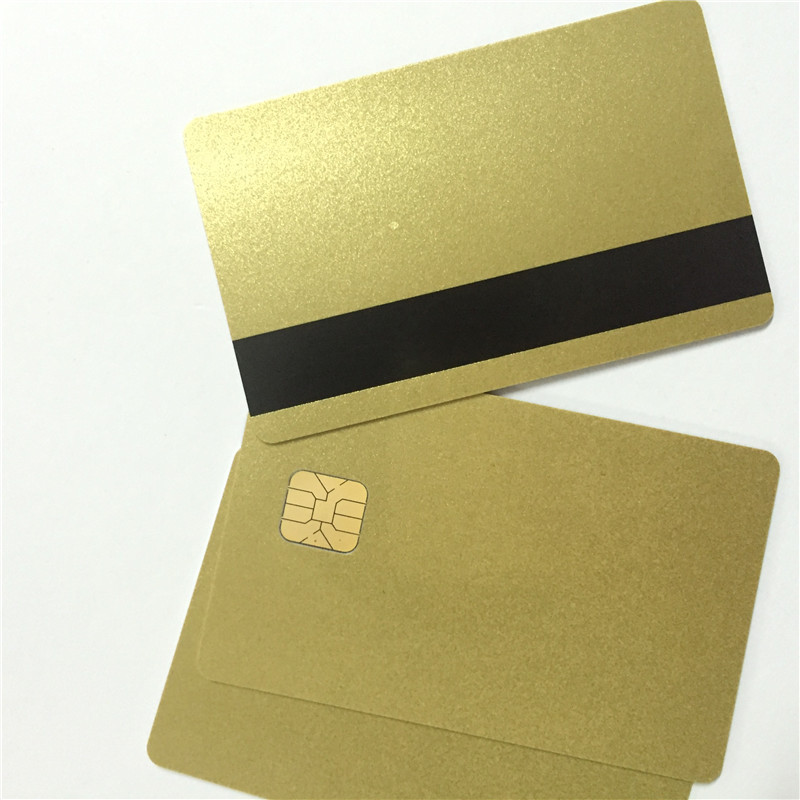 Sle4428 Chip Gold Card with Magnetic Stripe pvc blank smart card