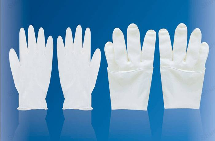 powdered latex disposable examination gloves