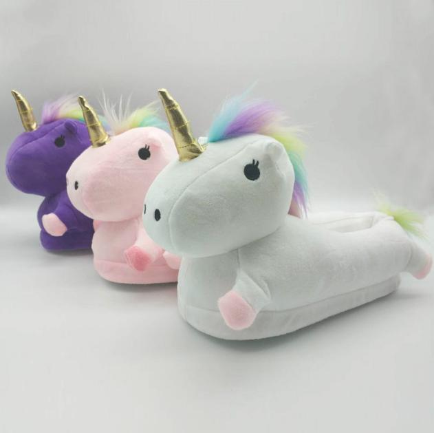 Cute Design Winter Indoor Plush Unicorn Animal Slipper