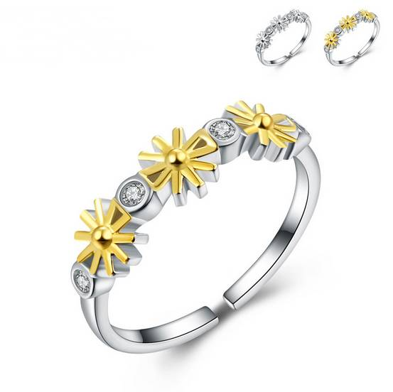 Cheap Price from China Women Daisy Rings 925 Silver Ring Gold Finger Ring