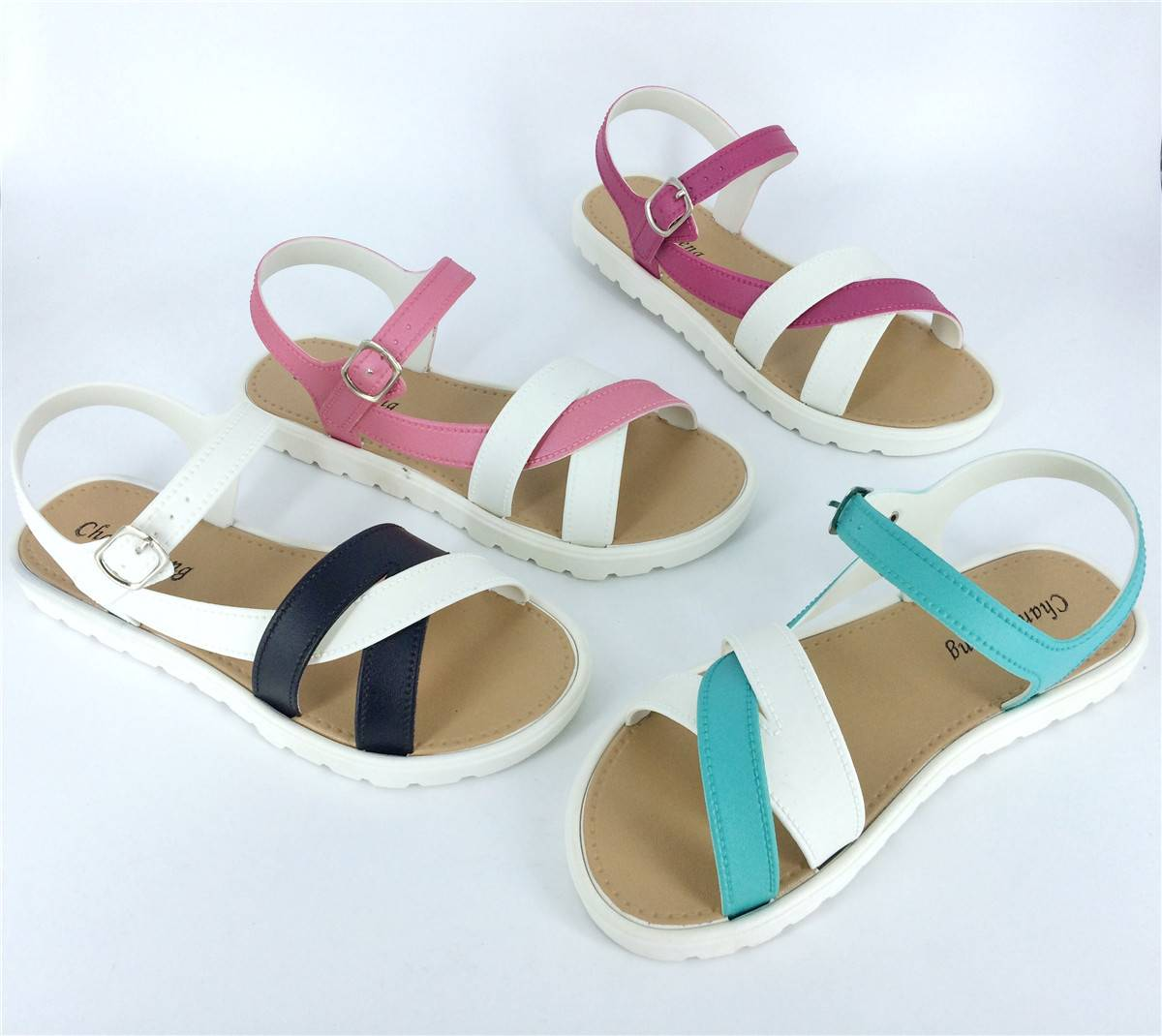 2016 New Fashion PVC Ladies Flat Sandals