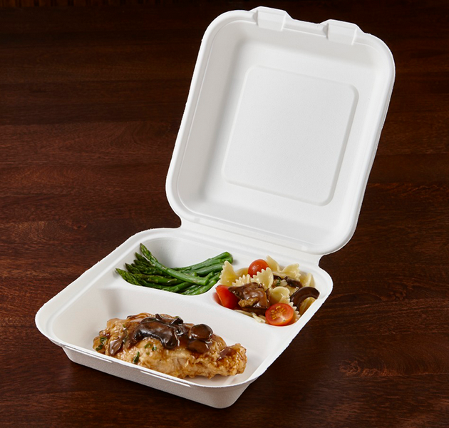 8 inch 3 compartment disposable takeaway fast food bulk pack paper clamshell