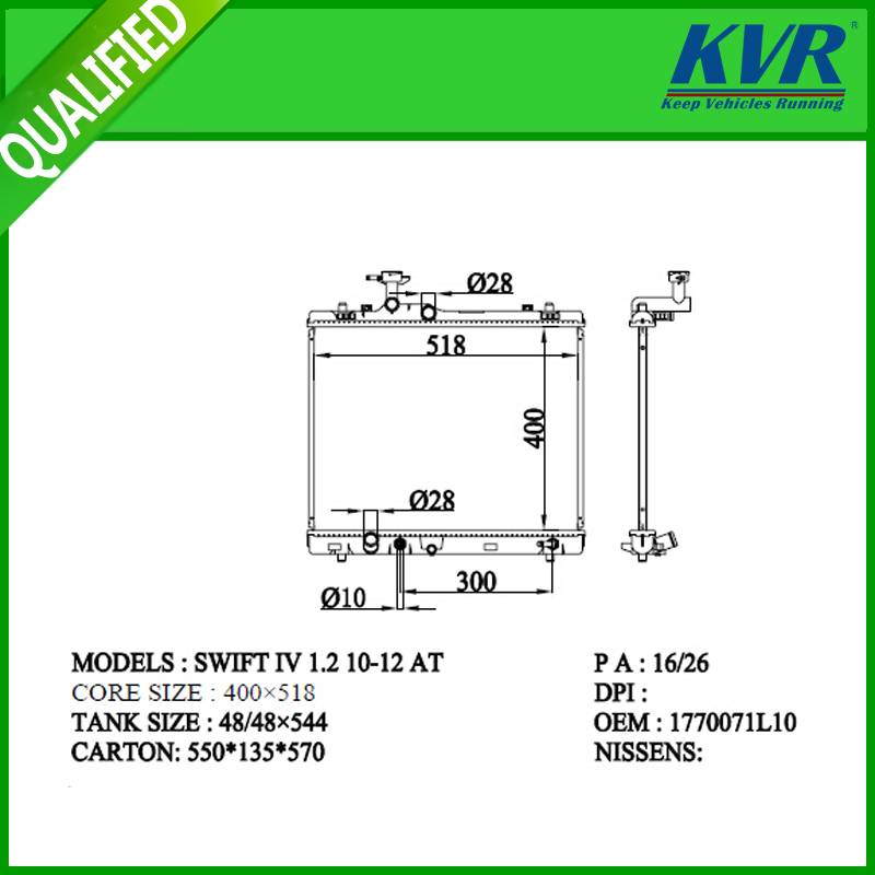 SUZUKI  radiator for SWIFT IV 1.2 10-12