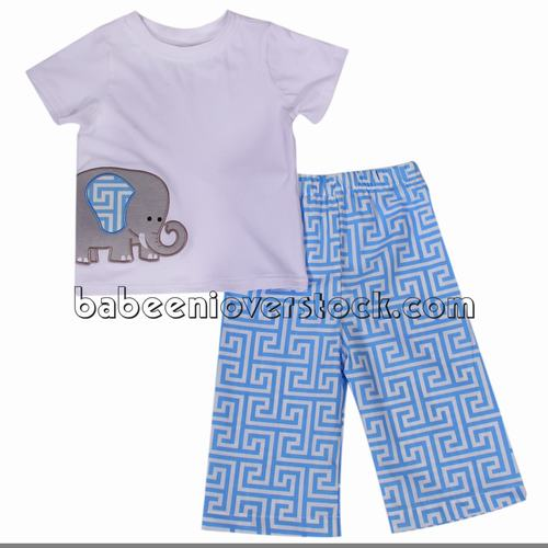 Lovely elephant appliqued set for boys - BB1030