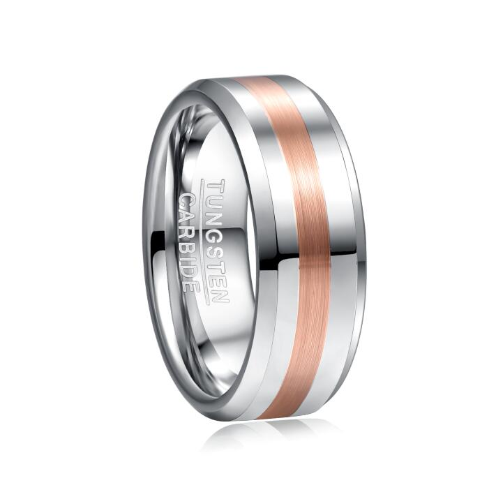 2019 Nuncad 8mm Width Men's Ring Wedding Band Engagement Ring Middle Brushed Electric Rose Gold