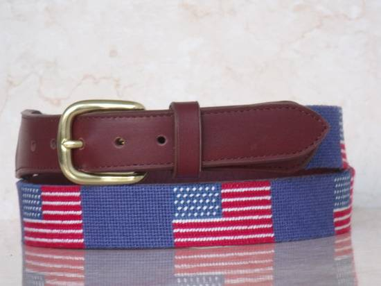 American Flag needlepoint belts with genuine cowhide red leather color