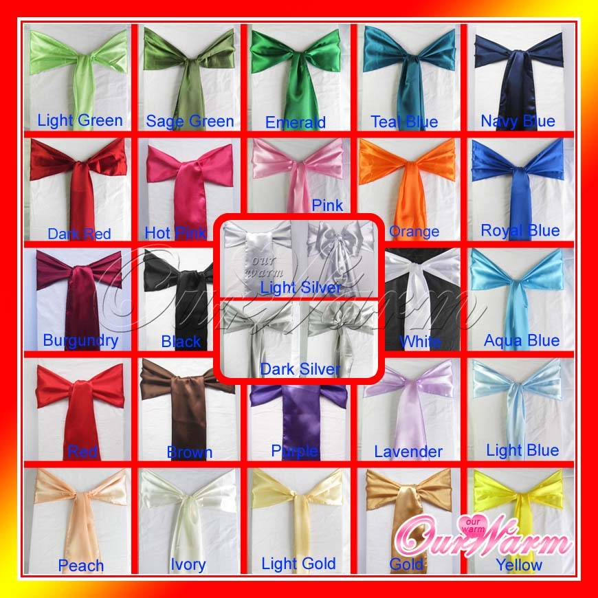 Satin Chair Sash Bow Banquet Wedding Party Decor Colors