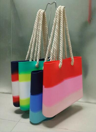 Wholesale new fashion candy color lady silicone beach bag