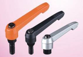 Lever handles with threaded stud, steel zinc plated