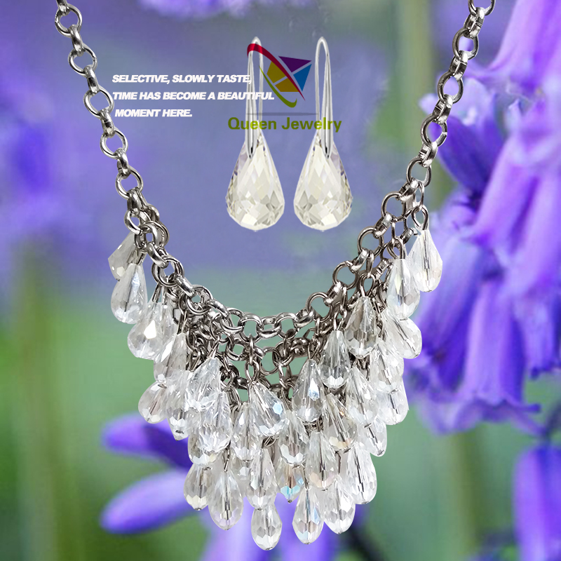 New trend wholesale white crystal jewelry necklace earring supplier