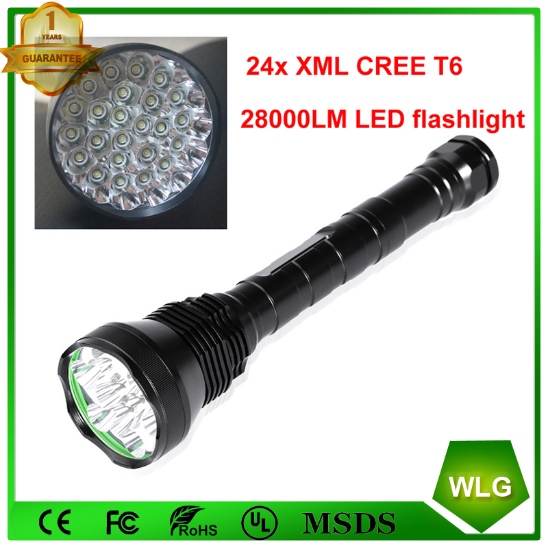 Powerful 24 x XM-L T6 24T6 LED Aluminum Flashlight 38000 Lumens Hunting Torch