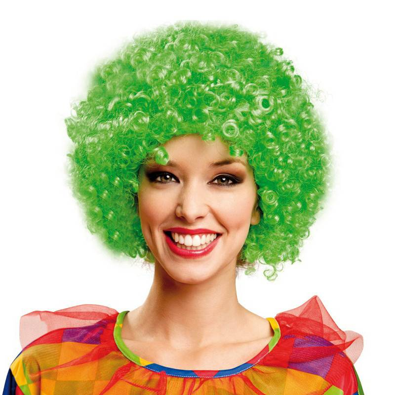 Clown Green afro party wig