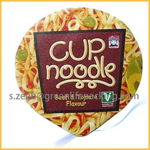Pre-cut top heat sealing aluninum foil cover for instant noodles cup