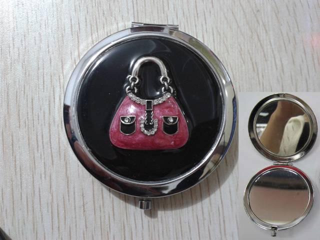Black Epoxy Pocket Mirror LFM2103 Purse Bag Compact Mirror