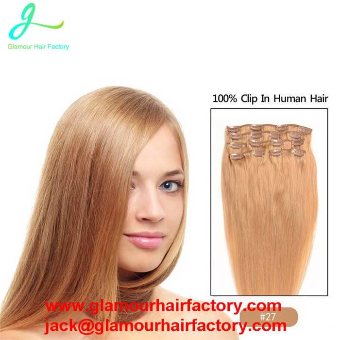 Clip In Human Hair Extensions #27 Virgin Clip In Human Hair weaving