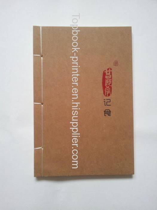 custom red gold stamping Chinese art paper thread-binding book printing