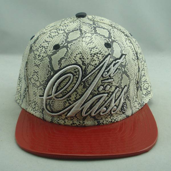 Snakeskin leather snapback cap with custom embroidery