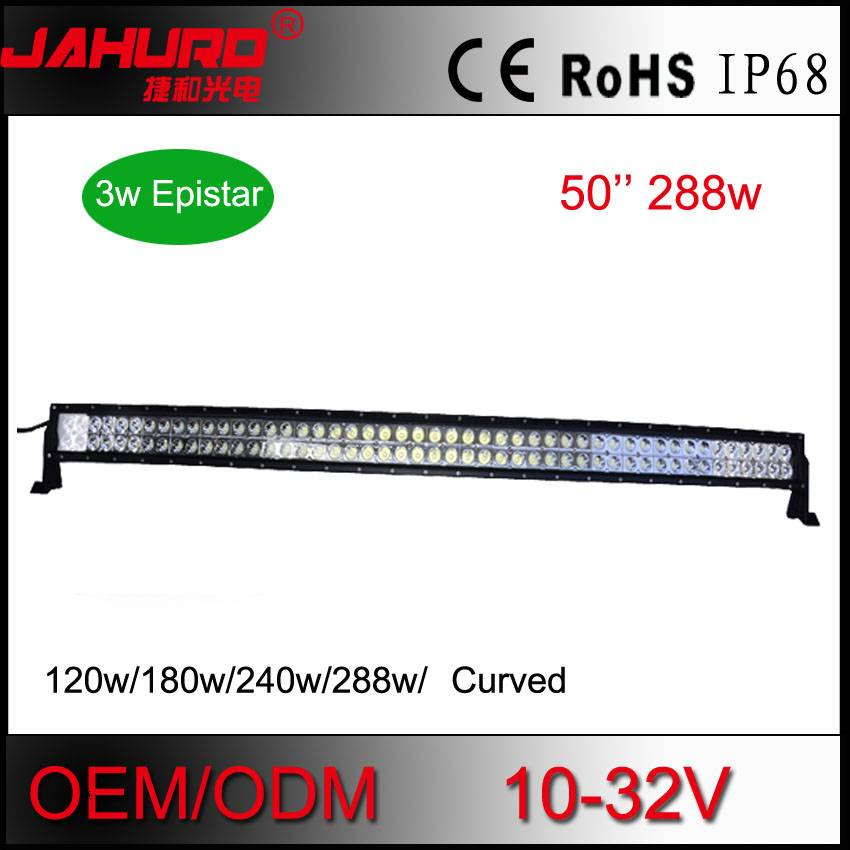 "50"" curved aluminum housing led light bar 36w/72w/120w/180w/240w/288w high lumens led offroad light"