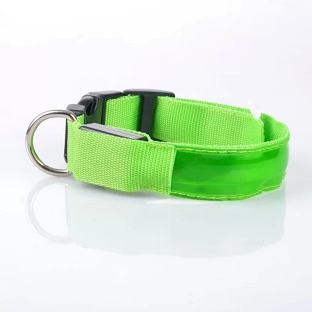 Pet dog collar with LED lattice from factory supply USB rechargeable dog collar