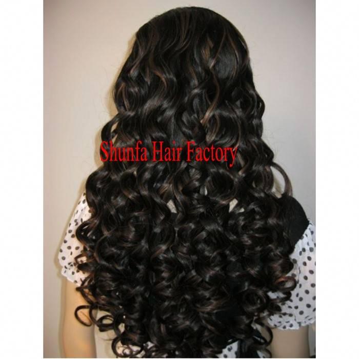human hair 20'' #1b silk top base full lace wig