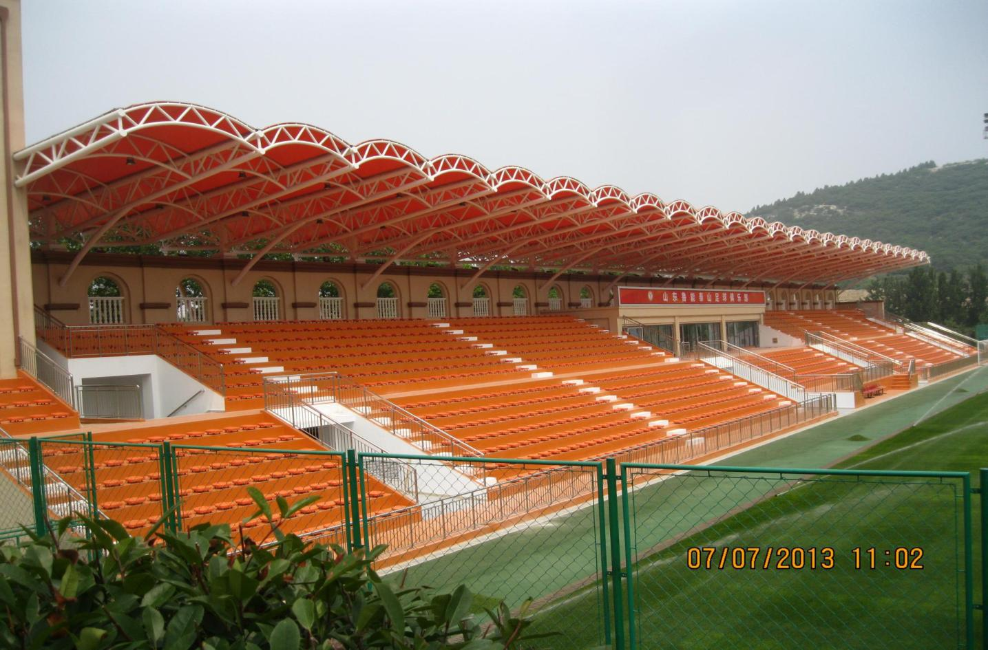 Modern steel structure Soccer stadium with high level