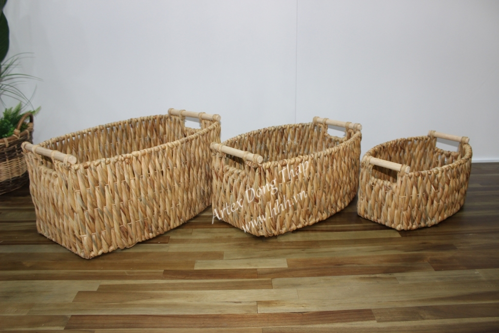 Water hyacinth storage basket for home decor and furniture - SD2585B-3NA