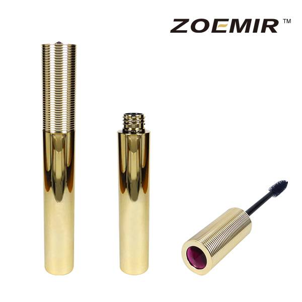 High quality deluxe glisten gold shiny eyelash container/mascara bottle