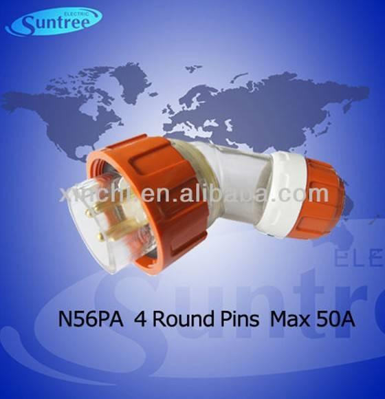 Australian industrial plug and socket N56PA450 IP66 australia power angled plugs passed SAA from 10A