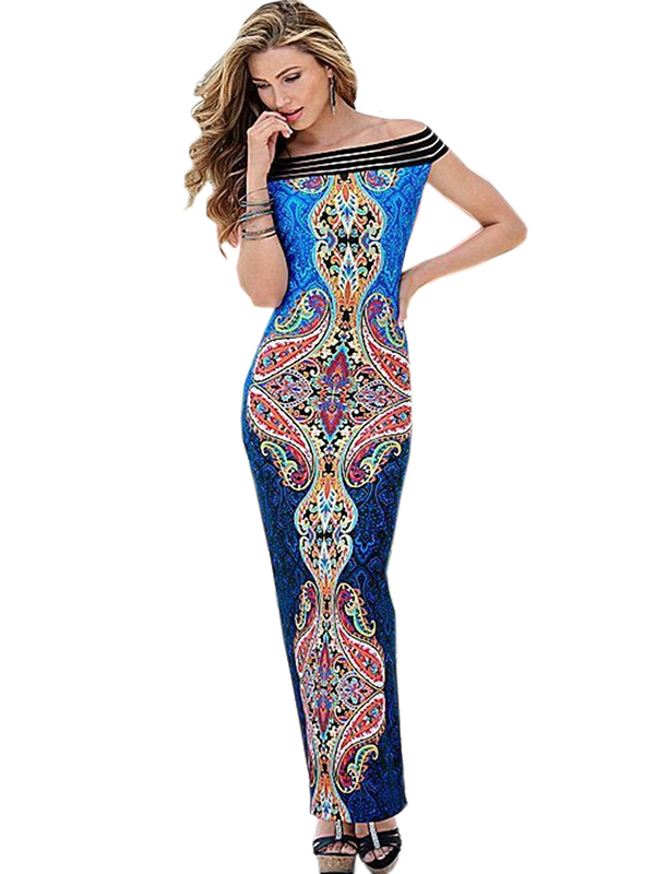 Summer Women Fashion Printed Off the Shoulder Floor-Length Party Dress WT33069
