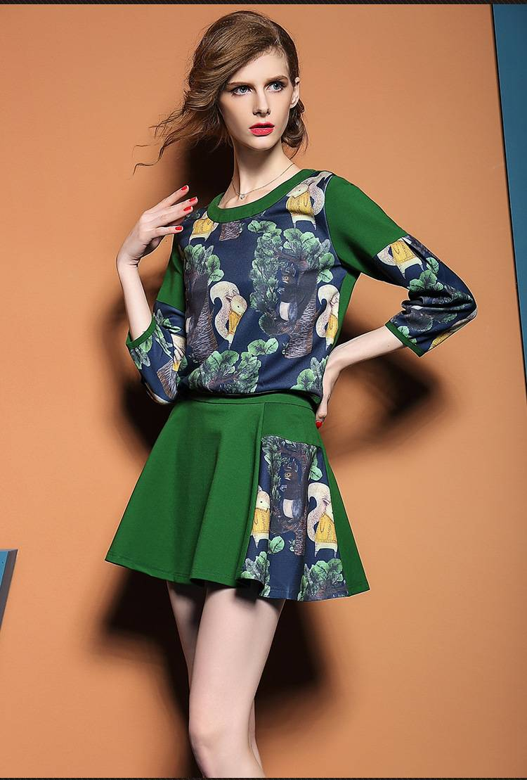 2015 european and USA popular uasual elegant floral print 3/4 sleeve suits