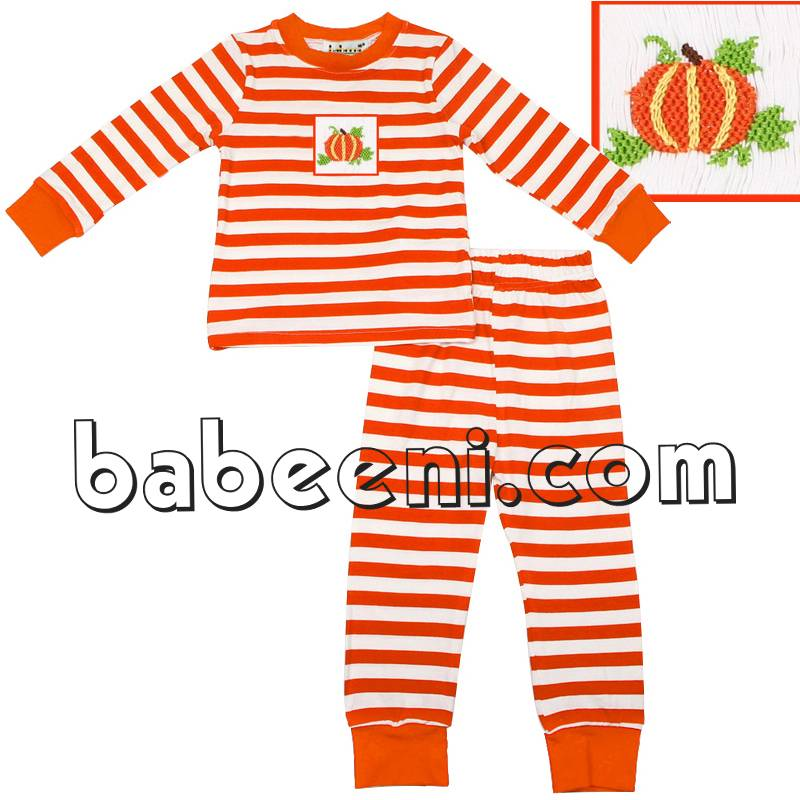 Boy smocked pumpkin pant set - KN 129