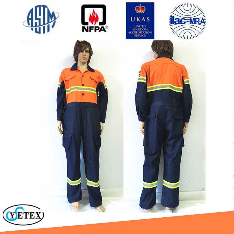 fire resistant denim coverall safety workwear