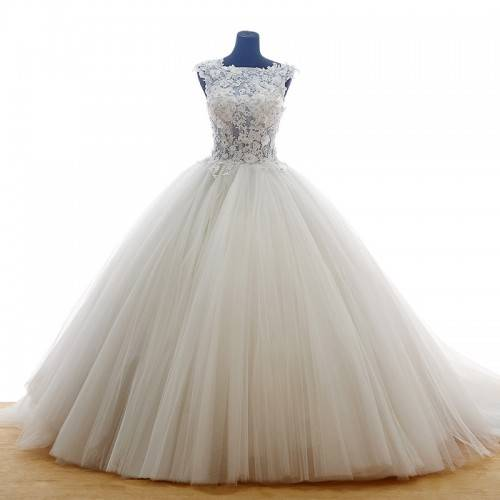 GLAMOROUS BALL GOWN TULLE&LACE SQUARE NECKLINE BEADING&CRYSTALS CHAPEL TRAIN WEDDING DRESS FOR CINDE