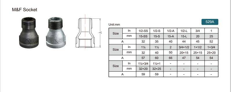 China malleable iron pipe fitting M&F Socket-529A with high quality and proper price