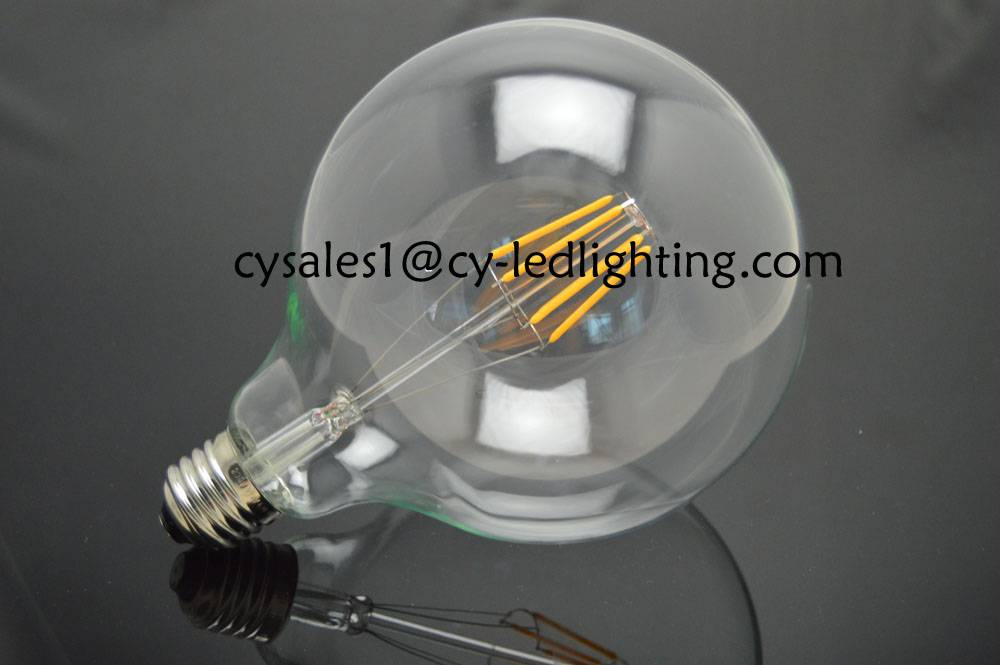 G125 clear global bulb filament led bulb dimmable