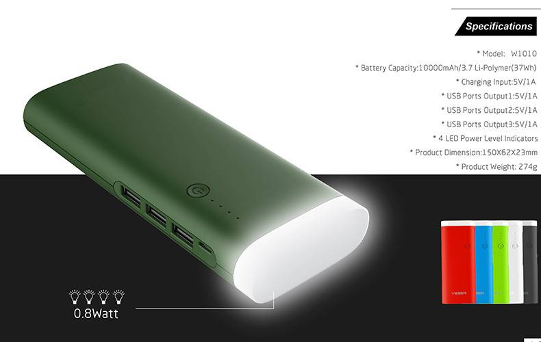 10000mAh External Battery Smart 3 USB Output Power Bank Portable Charger with 0.8 Watt LED Flash