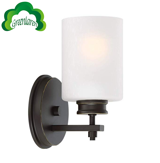 GreenLaren Modern 1-Light Wall Sconce/Vanity Light + Frosted Seeded Glass Shade
