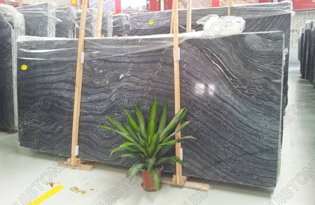 White and Black Wood Marble Slab