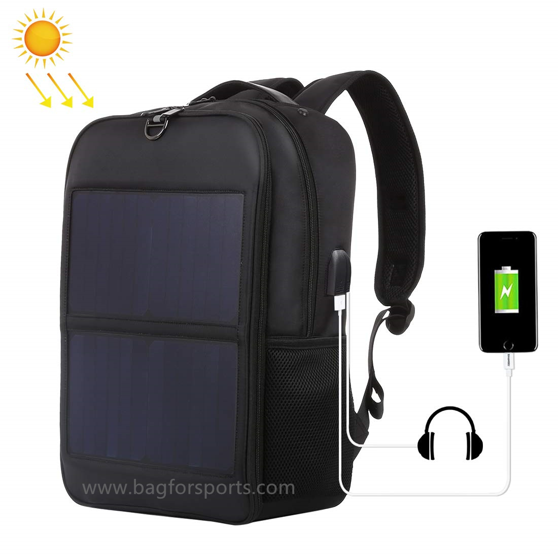 14W Solar Backpack, Solar Panel Powered Backpack Water Resistant Laptop Bag with USB Charging Port S