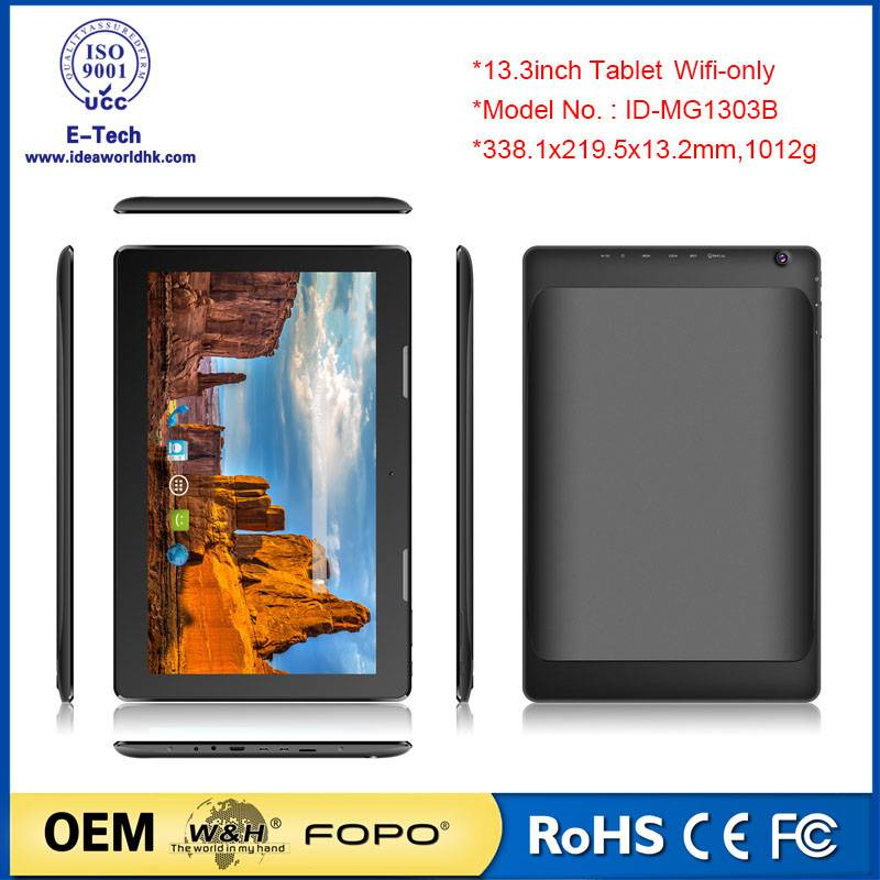 13.3 inch WiFi only tablet pc Rockchip RK3368 A53,64 bit, Octa-Core 1.5GHz 10 points touch OEM table