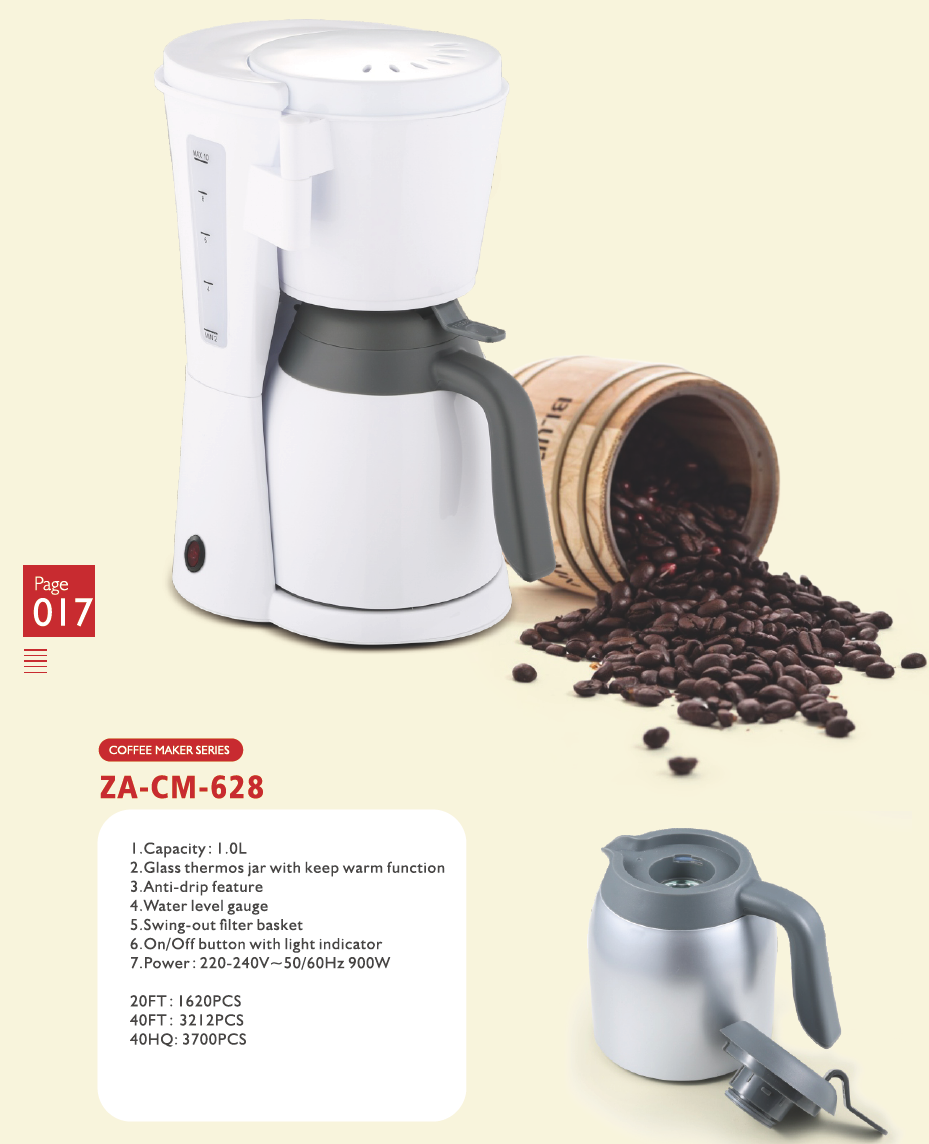 Coffee Maker with thermos jar, keeping warmth for 24 hours, capacity 6 cups 8 cups 12 cups