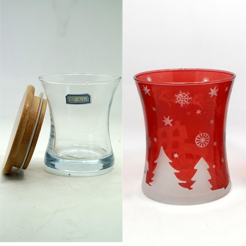 Creative Christmas unique glass candle jar/glass container supplier