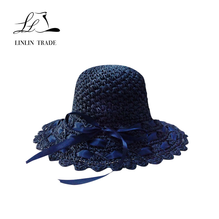 Customized color promotional women paper beach summer straw hats